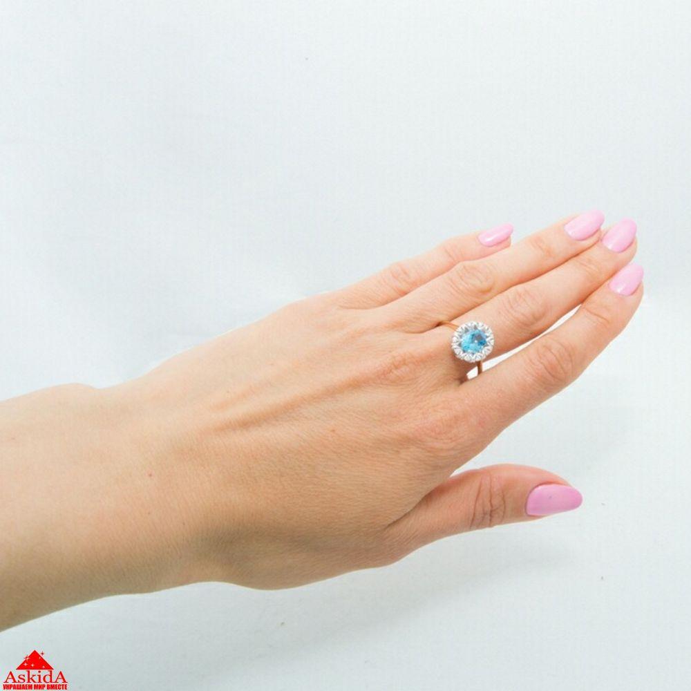 Золотое кольцо с бриллиантами и голубым топазом (970195772)   АскидА ... 5344df3ba5b