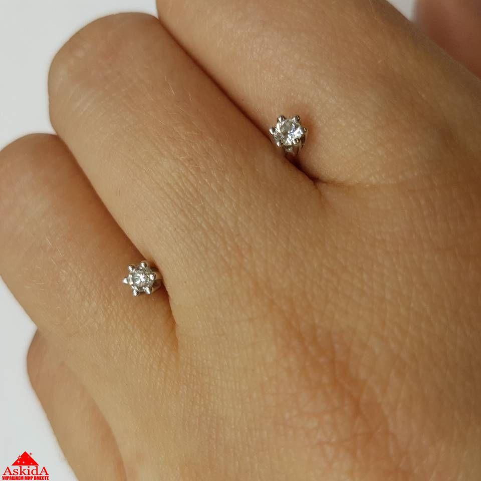 Серьги-пусеты из белого золота с бриллиантами - СE003861   АскидА ... 8ec3c0d1d17
