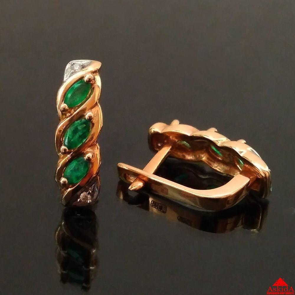 Золотые серьги дорожка с изумрудом и бриллиантами - 99367286 ... 8ac5c46da14
