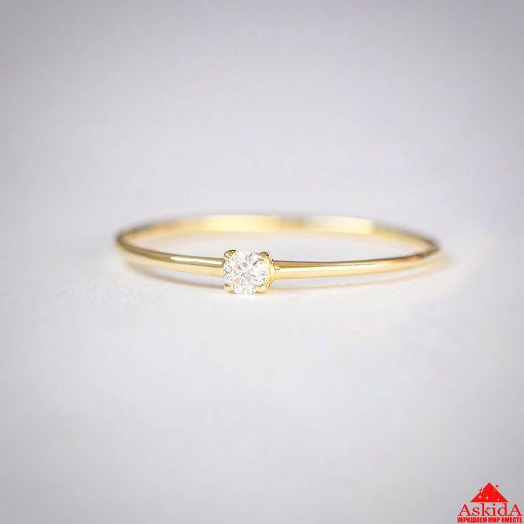 Золотое недорогое кольцо с бриллиантом   АскидА   Купить Золотое ... 2d8d16232df