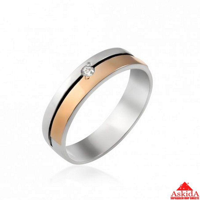 Обручальное кольцо серебро с позолотой и одним камнем   АскидА ... f692f87bbf2