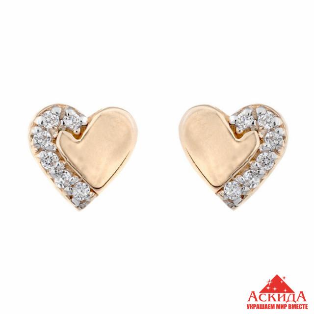 f29e94cf2a40 Золотые серьги гвоздики Сердце   АскидА   Купить Золотые серьги ...